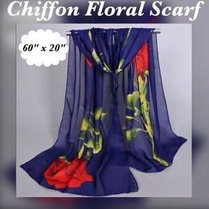 Accessories - Chiffon Rose 🌹 Print Shawl / Wrap